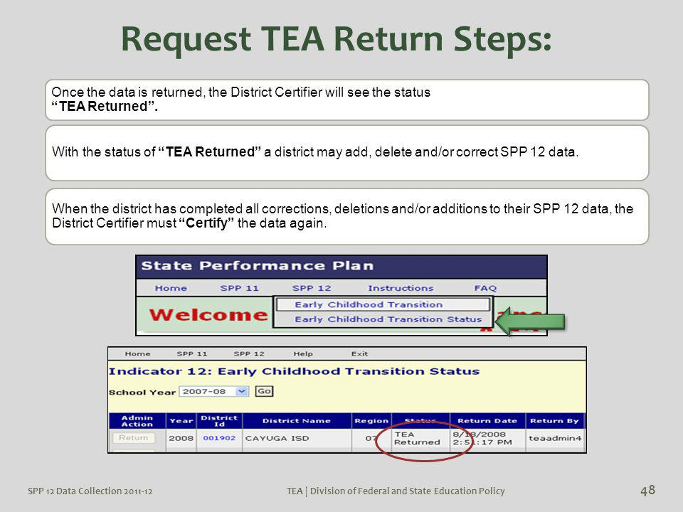 "Once the data is returned, the District Certifier will see the status ""TEA Returned"". With the status of ""TEA Returned"" a district may add, delete and"