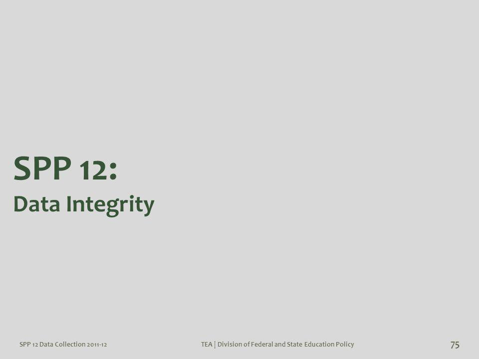 SPP 12 Data Collection 2011-12TEA | Division of Federal and State Education Policy 75 SPP 12: Data Integrity