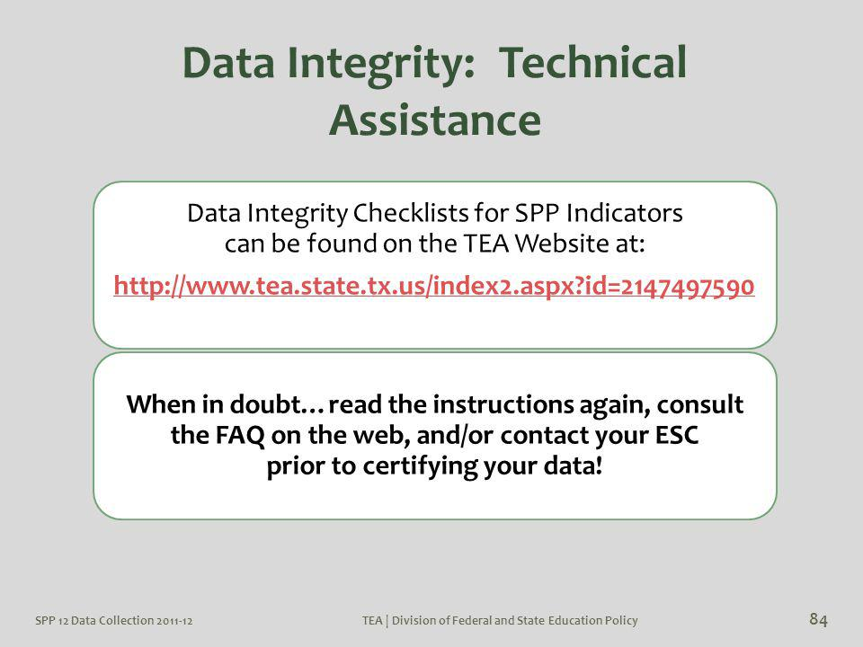 Data Integrity Checklists for SPP Indicators can be found on the TEA Website at: http://www.tea.state.tx.us/index2.aspx?id=2147497590 When in doubt…re