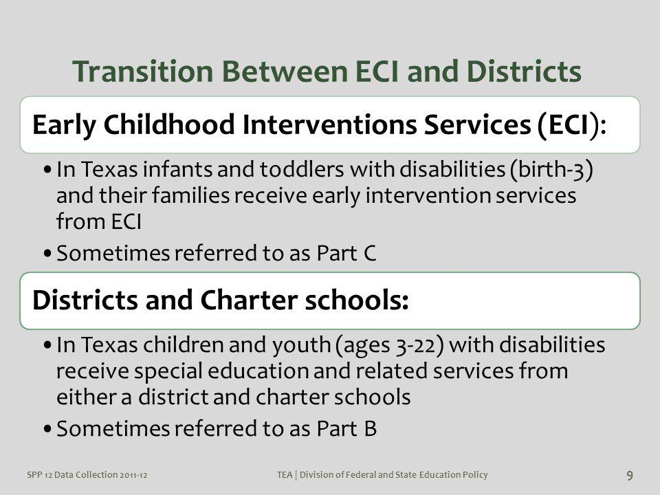 SPP 12 Data Collection 2011-12TEA | Division of Federal and State Education Policy 9 Transition Between ECI and Districts Early Childhood Intervention
