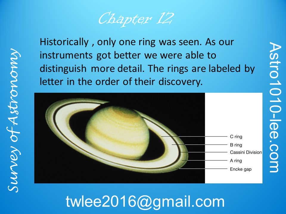 Survey of Astronomy Astro1010-lee.com twlee2016@gmail.com Chapter 12 Historically, only one ring was seen.