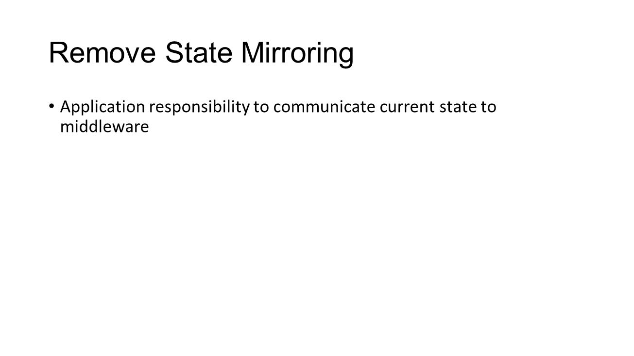 Remove State Mirroring Application responsibility to communicate current state to middleware