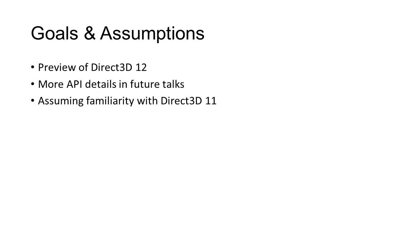 Descriptor Tables - HLSL float4 main( uint i1 : INDEX1, uint i2 : INDEX2, float2 coord : TEXCOORD) : SV_TARGET { MyCBufferType b = buf[i1]; // CBuffer table 2 element #(i1) SamplerState s = sam[i1]; // Sampler table 1 element #(i1) Texture2D tA = texA[i1]; // SRV table 2 element #(i1+3) Texture2D tB = texB[i2]; // SRV table 4 element #(i2+2) float4 colorA = tA.Sample(s, coord); float4 colorB = tB.Sample(s, coord); return colorA * b.foo + colorB * b.bar; }