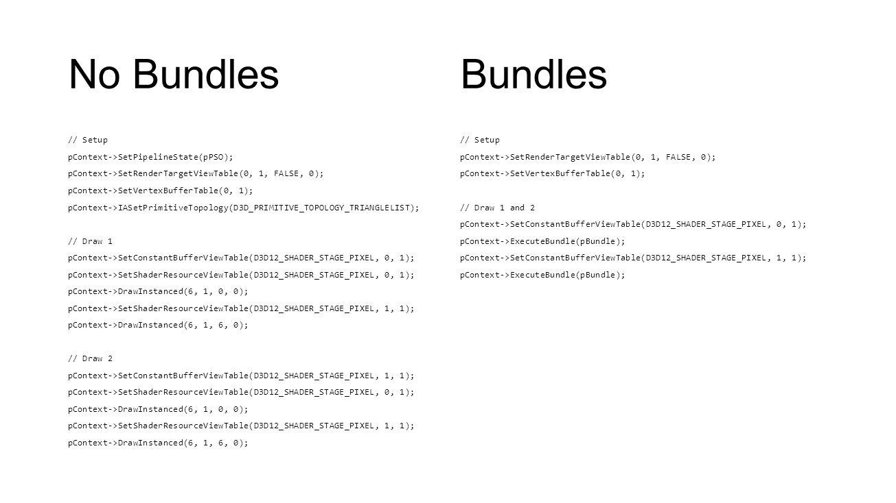 No Bundles // Setup pContext->SetPipelineState(pPSO); pContext->SetRenderTargetViewTable(0, 1, FALSE, 0); pContext->SetVertexBufferTable(0, 1); pConte