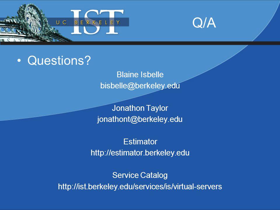 Q/A Questions.