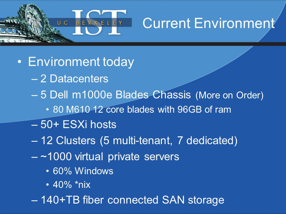 Current Environment Environment today –2 Datacenters –5 Dell m1000e Blades Chassis (More on Order) 80 M610 12 core blades with 96GB of ram –50+ ESXi hosts –12 Clusters (5 multi-tenant, 7 dedicated) –~1000 virtual private servers 60% Windows 40% *nix –140+TB fiber connected SAN storage