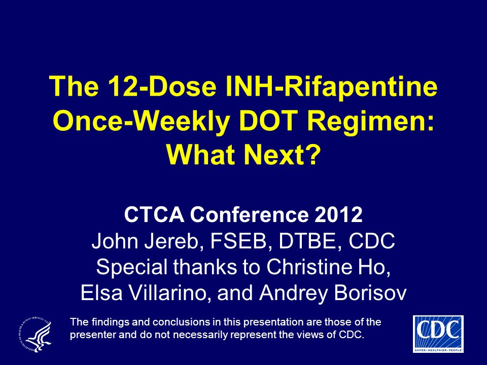 The 12-Dose INH-Rifapentine Once-Weekly DOT Regimen: What Next.