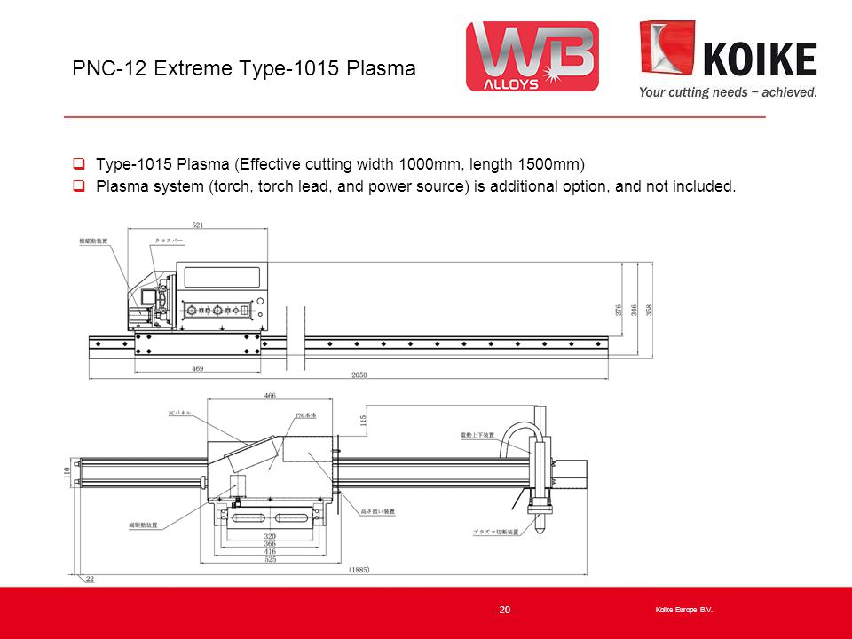 PNC-12 Extreme Type-1015 Plasma  Type-1015 Plasma (Effective cutting width 1000mm, length 1500mm)  Plasma system (torch, torch lead, and power source) is additional option, and not included.