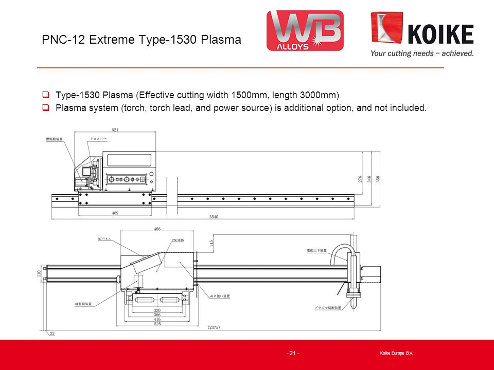 PNC-12 Extreme Type-1530 Plasma  Type-1530 Plasma (Effective cutting width 1500mm, length 3000mm)  Plasma system (torch, torch lead, and power source) is additional option, and not included.