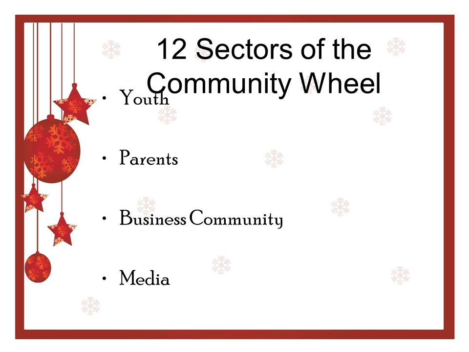 12 Sectors of the Community Wheel Schools Youth-Serving Organizations Law Enforcement Agencies Religious or Fraternal Organizations