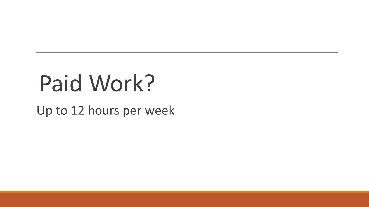 Paid Work? Up to 12 hours per week