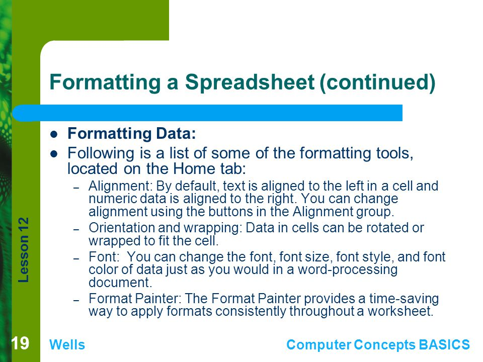 Lesson 12 WellsComputer Concepts BASICS 19 Formatting a Spreadsheet (continued) Formatting Data: Following is a list of some of the formatting tools,
