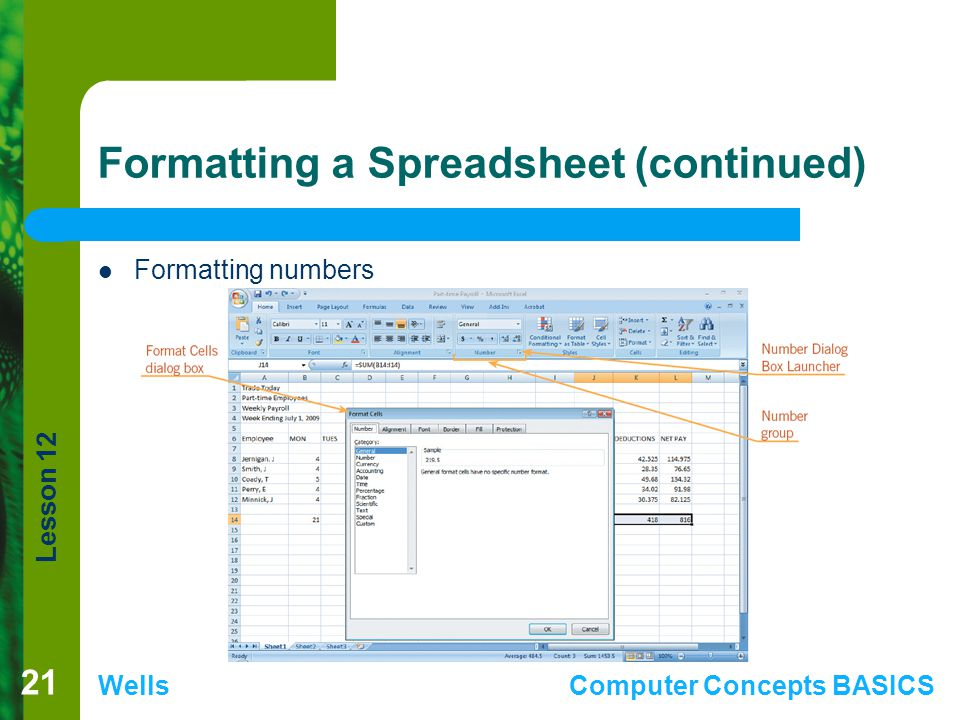 Lesson 12 WellsComputer Concepts BASICS Formatting a Spreadsheet (continued) Formatting numbers 21