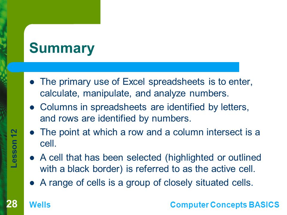 Lesson 12 WellsComputer Concepts BASICS Summary The primary use of Excel spreadsheets is to enter, calculate, manipulate, and analyze numbers. Columns