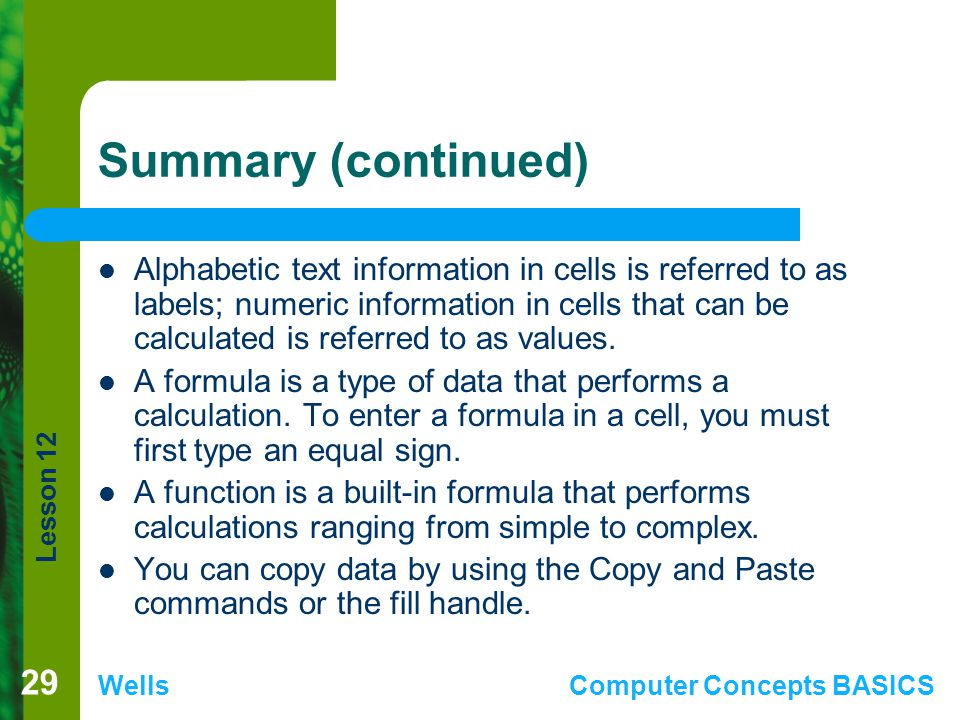 Lesson 12 WellsComputer Concepts BASICS Summary (continued) Alphabetic text information in cells is referred to as labels; numeric information in cell