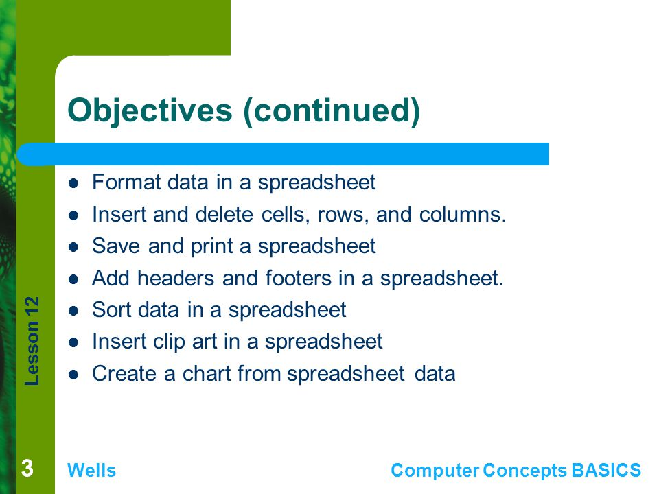 Lesson 12 WellsComputer Concepts BASICS 33 Objectives (continued) Format data in a spreadsheet Insert and delete cells, rows, and columns. Save and pr