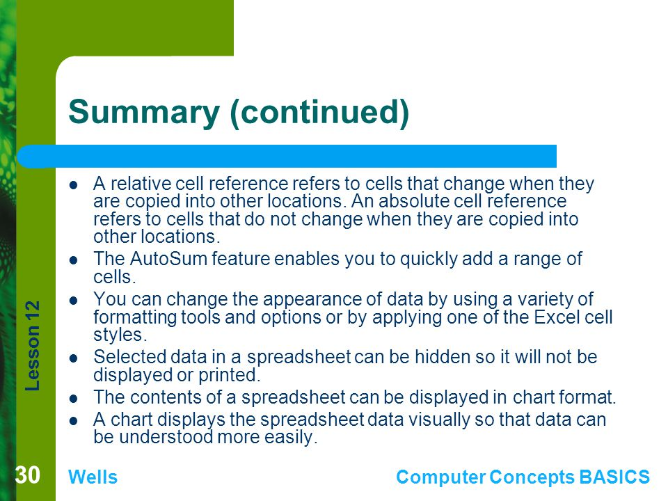 Lesson 12 WellsComputer Concepts BASICS Summary (continued) A relative cell reference refers to cells that change when they are copied into other loca