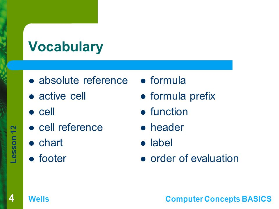 Lesson 12 WellsComputer Concepts BASICS 44 Vocabulary absolute reference active cell cell cell reference chart footer formula formula prefix function