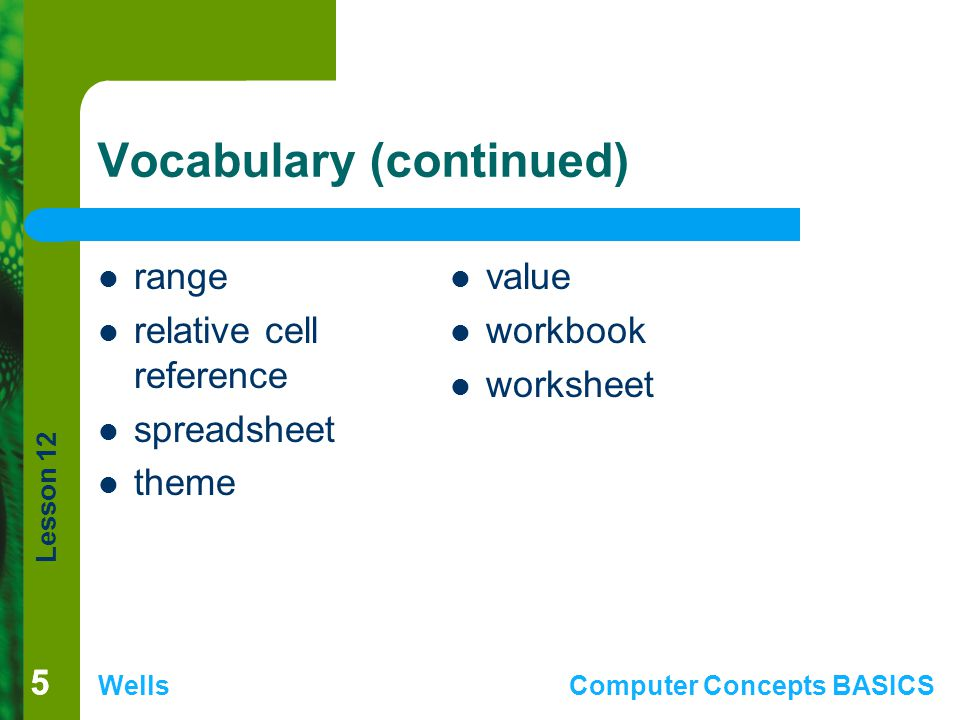 Lesson 12 WellsComputer Concepts BASICS 55 Vocabulary (continued) range relative cell reference spreadsheet theme value workbook worksheet