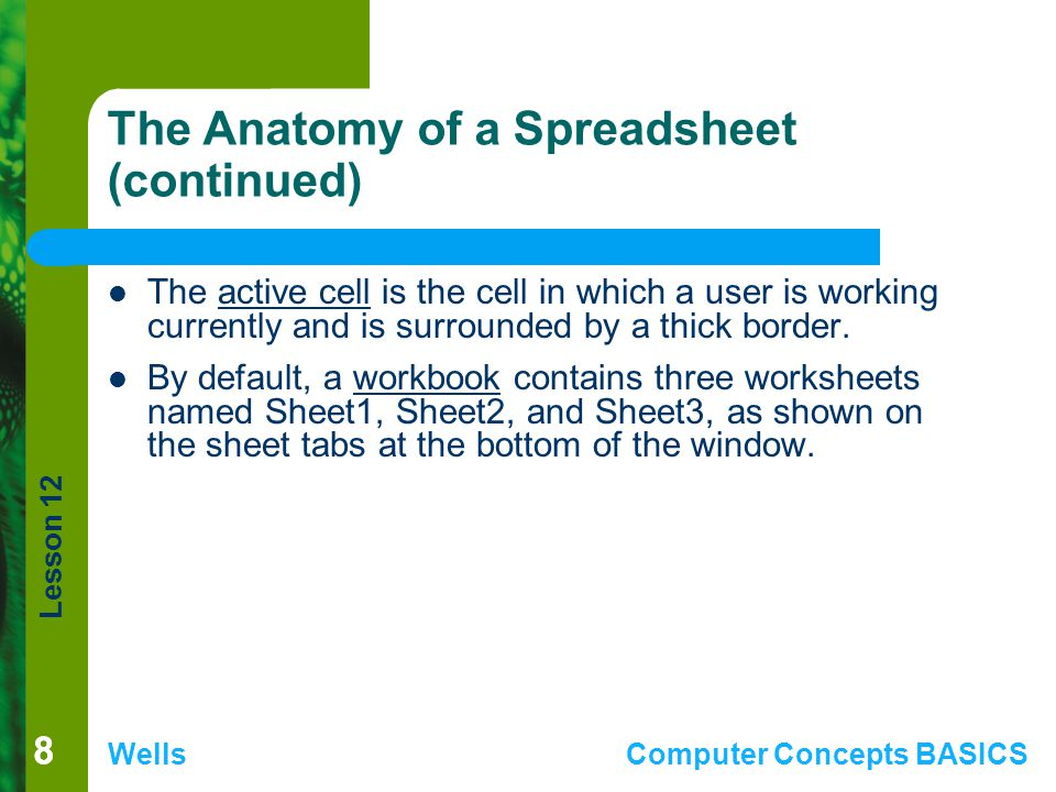 Lesson 12 WellsComputer Concepts BASICS 88 The Anatomy of a Spreadsheet (continued) The active cell is the cell in which a user is working currently a