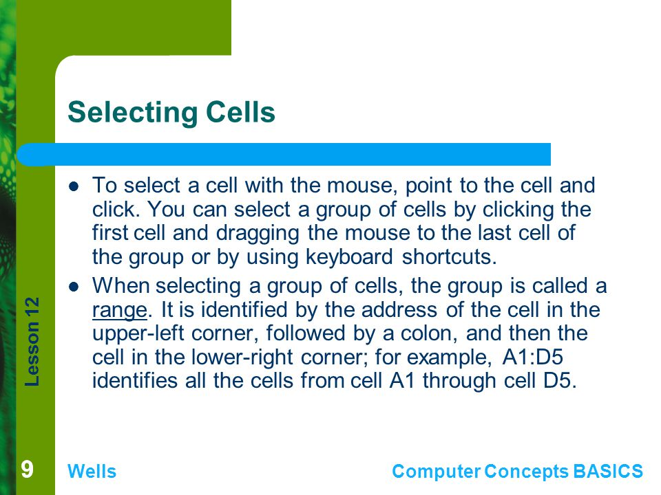 Lesson 12 WellsComputer Concepts BASICS 99 Selecting Cells To select a cell with the mouse, point to the cell and click. You can select a group of cel