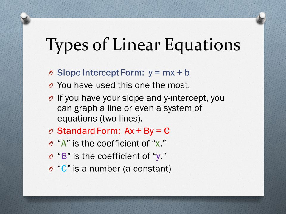 Types of Linear Equations O Slope Intercept Form: y = mx + b O You have used this one the most. O If you have your slope and y-intercept, you can grap