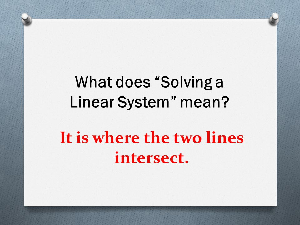"""It is where the two lines intersect. What does """"Solving a Linear System"""" mean?"""