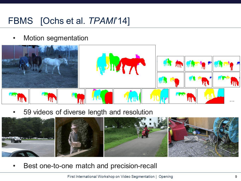 First International Workshop on Video Segmentation | Opening Motivation And different benchmarks 10 … FBMS VSB100 SegTrack v2 LIBSVX