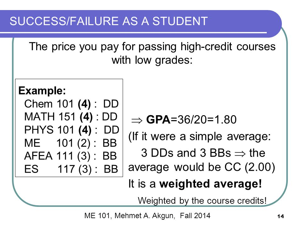 14 SUCCESS/FAILURE AS A STUDENT Example: Chem 101 (4) : DD MATH 151 (4) : DD PHYS 101 (4) : DD ME 101 (2) : BB AFEA 111 (3) : BB ES 117 (3) : BB The price you pay for passing high-credit courses with low grades:  GPA=36/20=1.80 (If it were a simple average: 3 DDs and 3 BBs  the average would be CC (2.00) It is a weighted average.