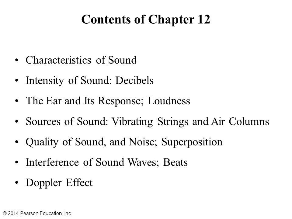 Contents of Chapter 12 Characteristics of Sound Intensity of Sound: Decibels The Ear and Its Response; Loudness Sources of Sound: Vibrating Strings an