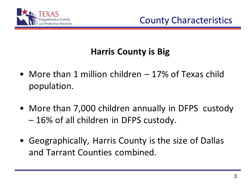 3 County Characteristics Harris County is Big More than 1 million children – 17% of Texas child population.