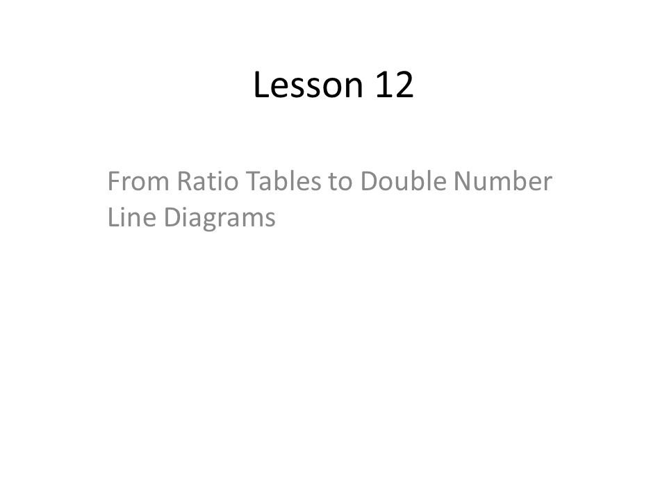 Lesson 12 From Ratio Tables to Double Number Line Diagrams