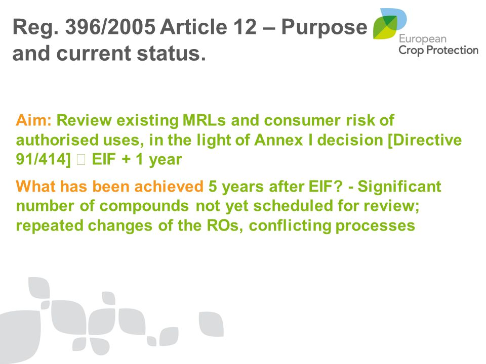 Aim: Review existing MRLs and consumer risk of authorised uses, in the light of Annex I decision [Directive 91/414]  EIF + 1 year What has been achieved 5 years after EIF.