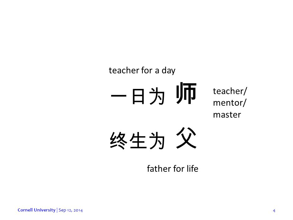 Cornell University | Sep 12, 20144 师 父 一日为 终生为 teacher/ mentor/ master teacher for a day father for life