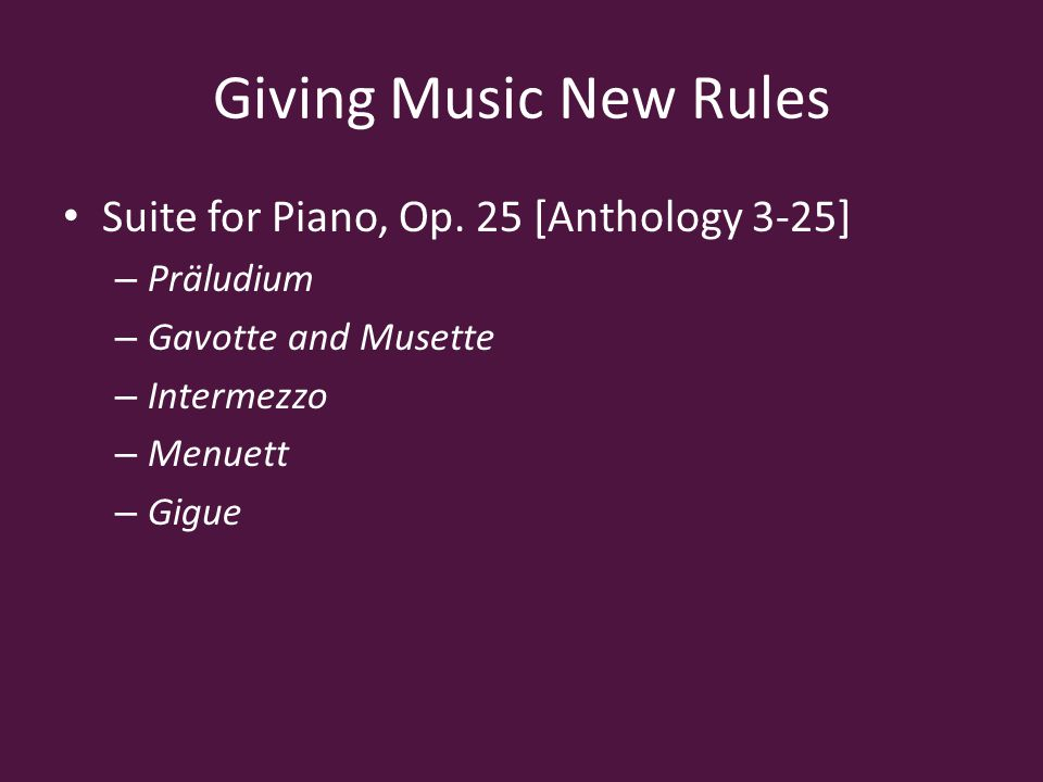 Giving Music New Rules Suite for Piano, Op.