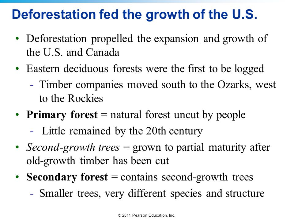 © 2011 Pearson Education, Inc. Deforestation fed the growth of the U.S. Deforestation propelled the expansion and growth of the U.S. and Canada Easter