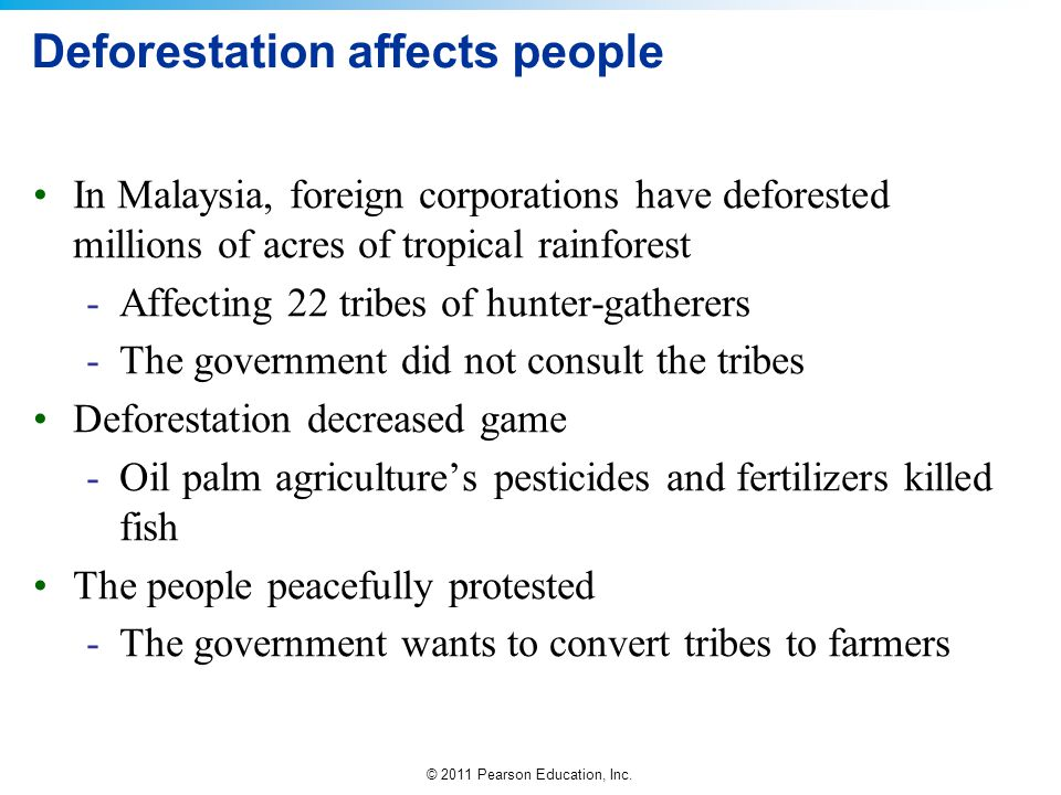 © 2011 Pearson Education, Inc. Deforestation affects people In Malaysia, foreign corporations have deforested millions of acres of tropical rainforest