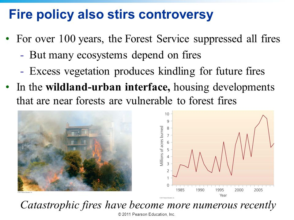 © 2011 Pearson Education, Inc. Fire policy also stirs controversy For over 100 years, the Forest Service suppressed all fires -But many ecosystems dep