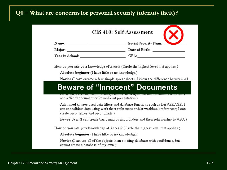 "Beware of ""Innocent"" Documents  Q0 – What are concerns for personal security (identity theft)? Chapter 12: Information Security Management 12-5"
