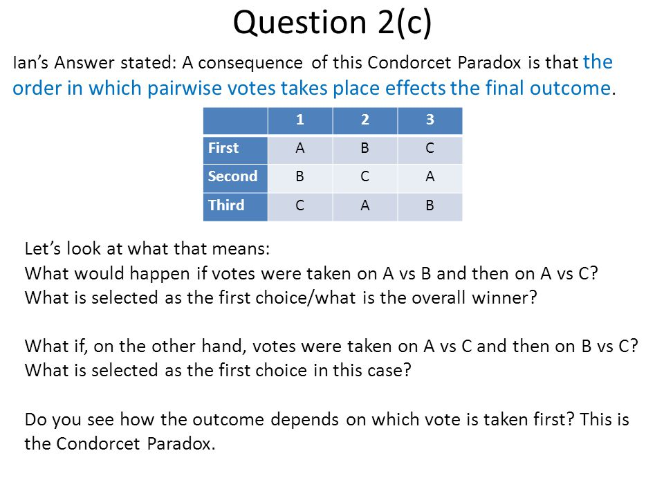 Question 2(c) Ian's Answer stated: A consequence of this Condorcet Paradox is that the order in which pairwise votes takes place effects the final outcome.