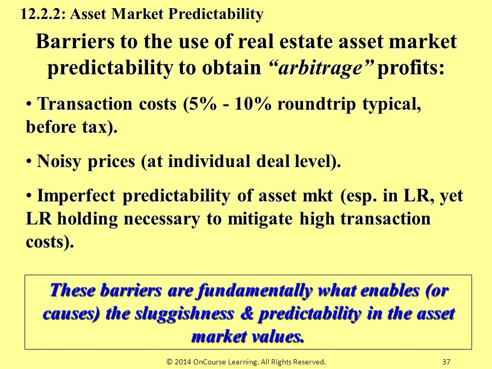 "Barriers to the use of real estate asset market predictability to obtain ""arbitrage"" profits: Transaction costs (5% - 10% roundtrip typical, before ta"