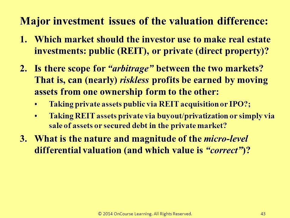 Major investment issues of the valuation difference: 1.Which market should the investor use to make real estate investments: public (REIT), or private