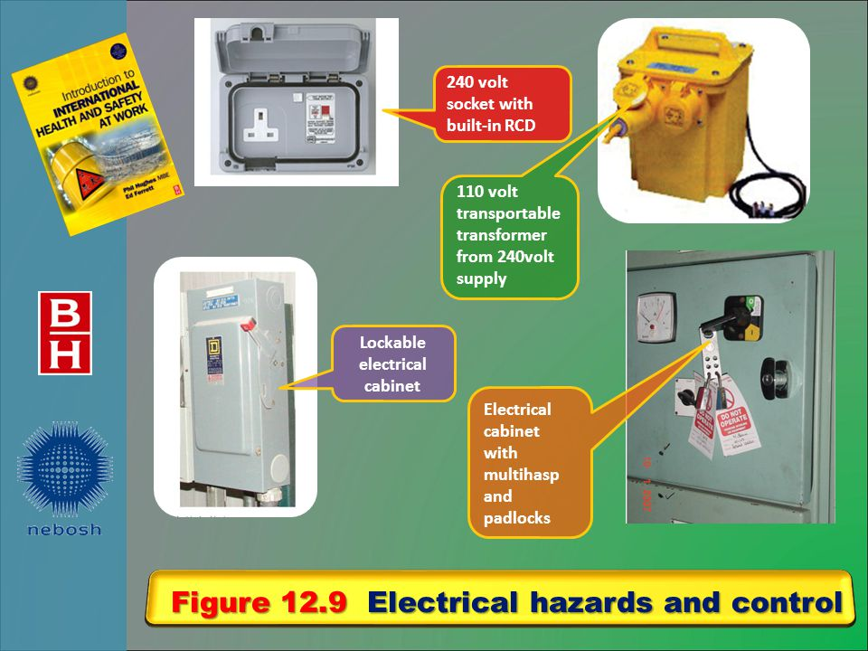 Figure 12.9 Electrical hazards and control 240 volt socket with built-in RCD 110 volt transportable transformer from 240volt supply Electrical cabinet with multihasp and padlocks Lockable electrical cabinet