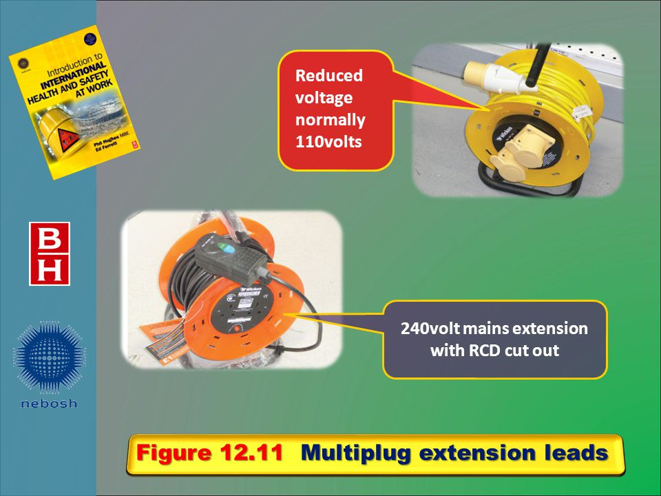 Figure 12.11 Multiplug extension leads Reduced voltage normally 110volts 240volt mains extension with RCD cut out