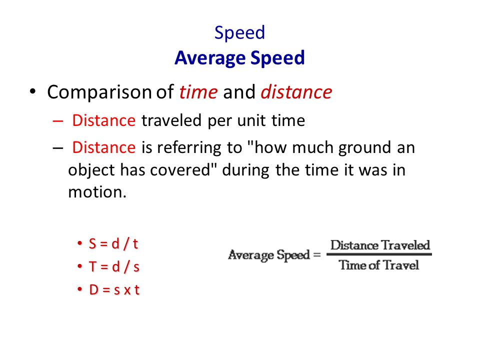 Speed Average Speed Comparison of time and distance – Distance traveled per unit time – Distance is referring to