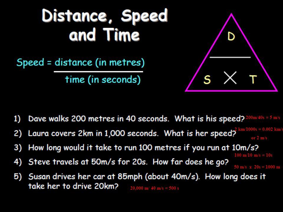 200m/40s = 5 m/s 2 km/1000s = 0.002 km/s or 2 m/s 100 m/10 m/s = 10s 50 m/s x 20s = 1000 m 20,000 m/ 40 m/s = 500 s