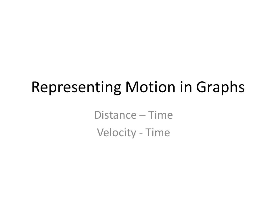 Representing Motion in Graphs Distance – Time Velocity - Time