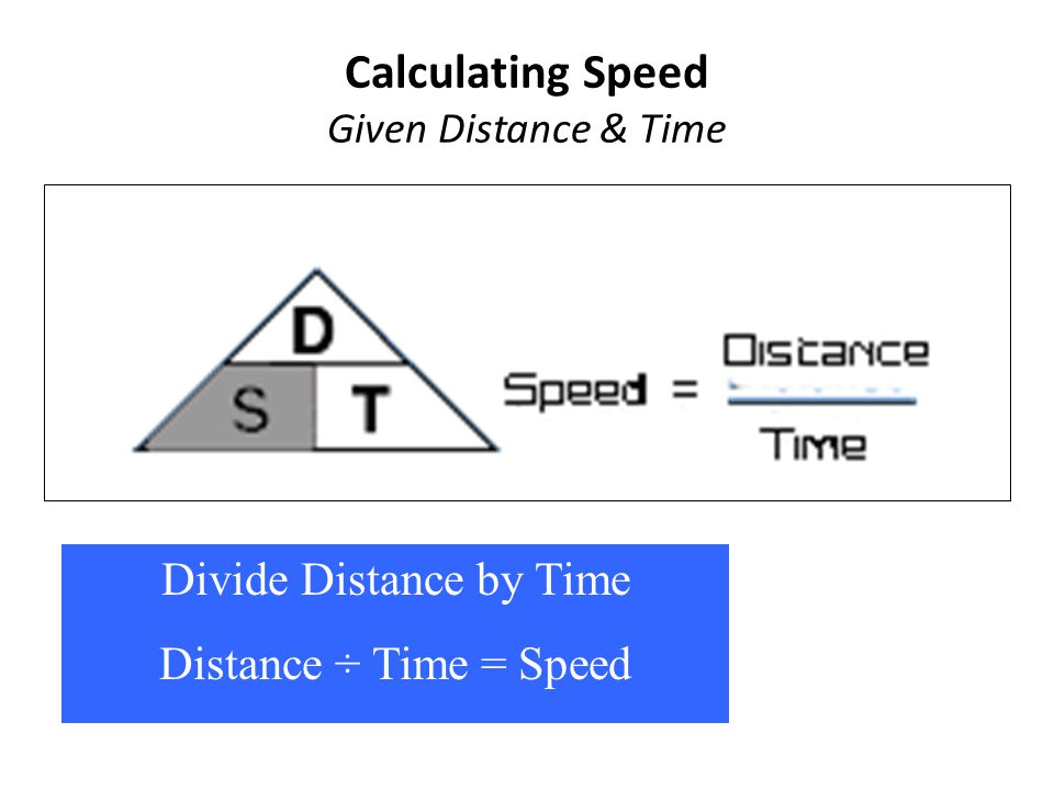 Calculating Speed Given Distance & Time Divide Distance by Time Distance ÷ Time = Speed Speed = Distance ÷ Time Divide Distance by Time Distance ÷ Tim
