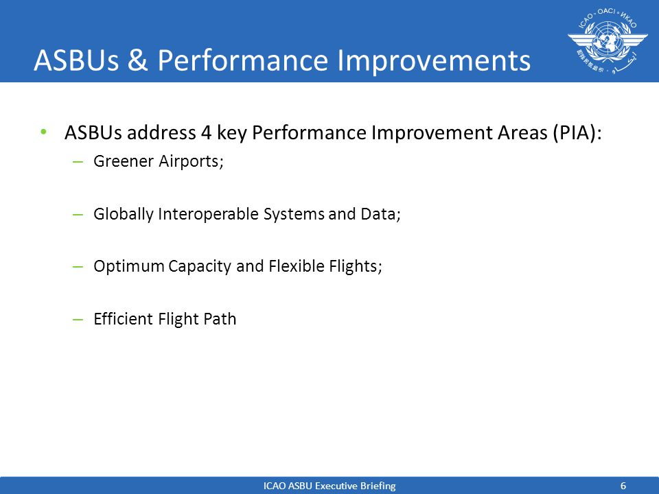 6 ASBUs & Performance Improvements ASBUs address 4 key Performance Improvement Areas (PIA): – Greener Airports; – Globally Interoperable Systems and Data; – Optimum Capacity and Flexible Flights; – Efficient Flight Path ICAO ASBU Executive Briefing