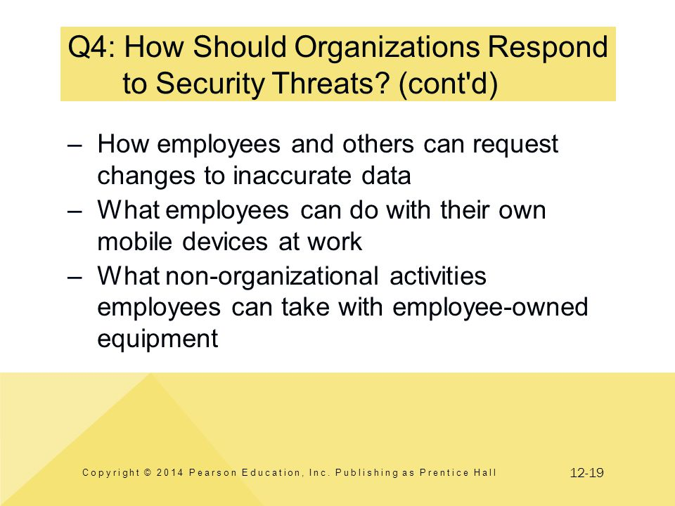12-19 Q4: How Should Organizations Respond to Security Threats? (cont'd) Copyright © 2014 Pearson Education, Inc. Publishing as Prentice Hall –How emp
